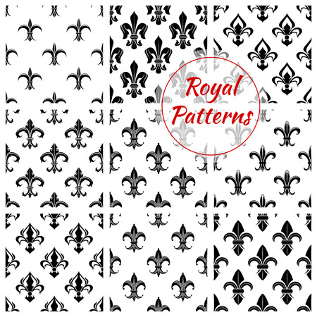 monarchy: Royal fleur-de-lis seamless patterns with set of floral background with black and white french heraldic lily flowers. Wallpaper or fabric print, monarchy theme design