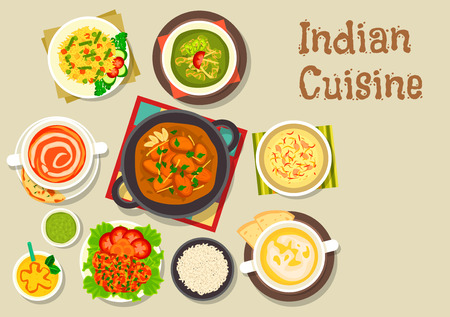 vegetarian cuisine: Indian cuisine vegetarian pilau rice icon served with turkey curry, prawn in tomato sauce, chicken spinach stew, tomato soup, pea cream soup, rice dessert with nuts, mango yogurt smoothie