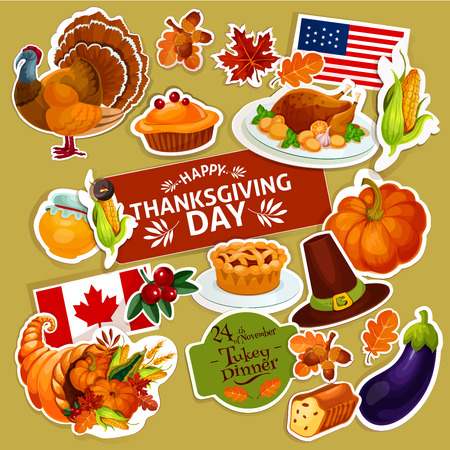 Thanksgiving celebration stickers set. Isolated decoration stickers with cut line. Vector symbols of thanksgiving day turkey, cornucopia, vegetables harvest, corn, pumpkin, american and canada flags for greeting, sale, tag design Illustration