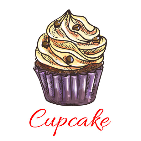 cake with icing: Cupcake with cream and chocolate drops sketch. Chocolate muffin in thin paper cup, topped with whipped cream. Pastry shop, cafe menu, birthday or tea party invitation design Illustration