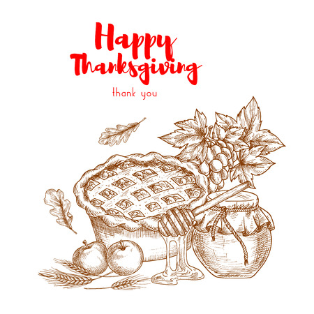 crop harvest: Happy Thanksgiving. Thank You greeting card. Vector elements of traditional thanksgiving holiday celebration. Sketch decoration of sweet cherry pie, autumn harvest crop, honey jar
