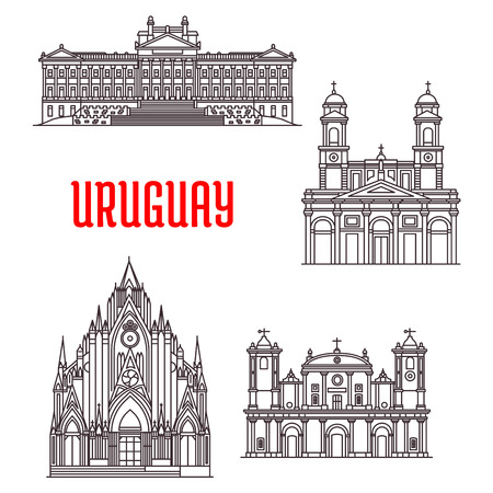 ferdinand: Uruguayan travel landmarks icon with historical and religious sights. Linear Montevideo Metropolitan Cathedral, Carmelite Church, Legislative Palace, Cathedral of Saint Ferdinand Illustration