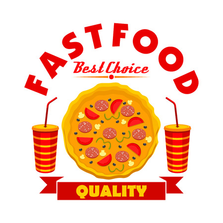 Fast food pizza sign of pepperoni pizza with sausage, tomato and olive toppings, takeaway cups of sweet soda drink, adorned by ribbon banner. Pizzeria symbol, food delivery service design