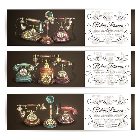 telephones: Retro phone sketch banner set with vintage rotary dial and candlestick telephones, supplemented by vignette frame with copy space