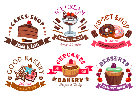 fruit cake: Pastry shop and cafe sign set with cake, cupcake, donut, ice cream dessert, muffin and gingerbread, decorated by chocolate, cream, fruit, glaze and ribbon banners with stars