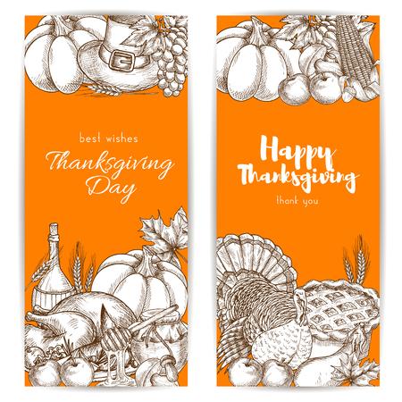 pilgrim hat: Thanksgiving day greeting banners set with sketched traditional thanksgiving design of table plenty of food, roasted turkey, vegetables harvest, pumpkins, pilgrim hat on orange background