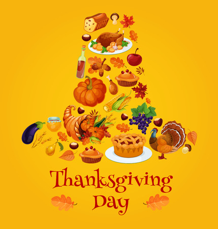 autumn vegetables: Thanksgiving day symbols in shape of pilgrim hat. Vector emblem of traditional thanksgiving holiday pumpkin, roasted turkey chicken pie, cornucopia, autumn vegetables harvest. Design for thanksgiving greeting cards, invitations