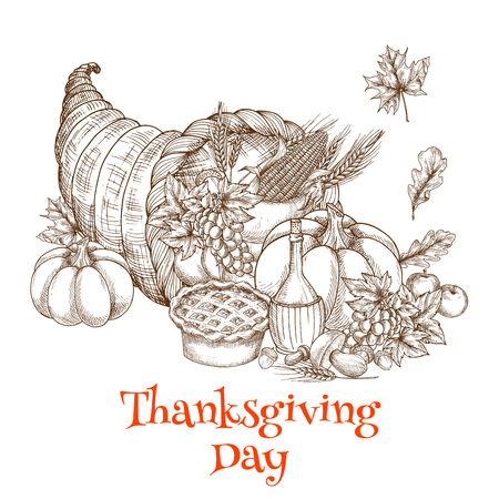 horn of plenty: Thanksgiving greeting card with sketch decoration element of horn plenty of food. Traditional design of meal, fruit and vegetable harvest abundance for banner, poster, invitation card Illustration