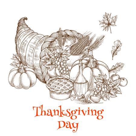 abundance: Thanksgiving greeting card with sketch decoration element of horn plenty of food. Traditional design of meal, fruit and vegetable harvest abundance for banner, poster, invitation card Illustration