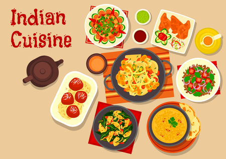 vegetarian cuisine: Indian cuisine vegetarian dishes icon with lentil soup, vegetable stew, green chatni, lentil tomato salad, potato spinach stew, cauliflower potato casserole and fried milk balls in sugar syrup