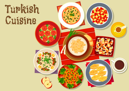 Turkish cuisine festive dinner icon of meatball kofta served with chicken and tripe soups, bean salad, bulgur with vegetables, tomato salad, baklava, cereal and bean dessert ashura and coffee 向量圖像