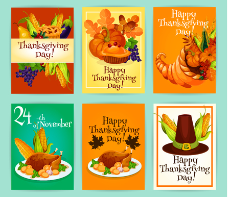horn of plenty: Thanksgiving Day greetings with traditional symbols of autumn celebration holiday. Vector cards set with vegetables harvest, pumpkin with sweet pie, cornucopia horn of plenty food, roasted turkey, pilgrim har with corn decoration tags