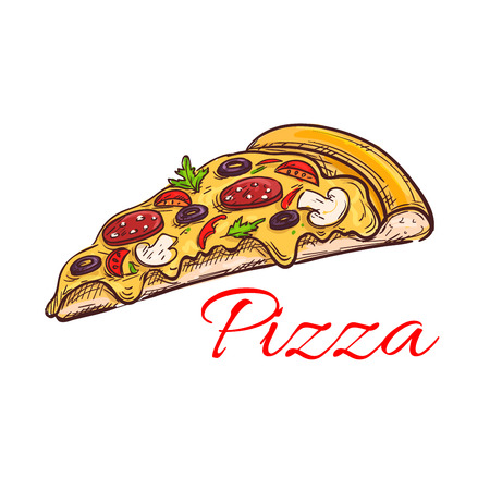 Pepperoni pizza isolated sketch of italian pizza thin slice, topped with cheese, sausage, tomato, olive and mushroom. Pizzeria, fast food, pizza box or menu design