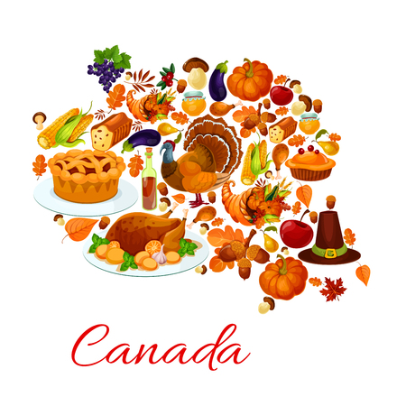 holiday food: Thanksgiving celebration holiday symbols in canada map. Vector elements of traditional thanksgiving day turkey, pumpkin, pilgrim hat, food plenty, cornucopia, cherry pie, autumn oak and maple leaf. Canadian map banner for thanksgiving greeting card