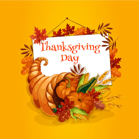 horn of plenty: Thanksgiving Day greeting card with vector element of cornucopia with vegetable and fruits harvest food. Thanksgiving symbol of plenty horn. Design with text and frame of autumn oak and maple leaves