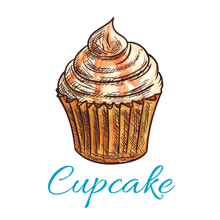 frosting: Cupcake dessert isolated sketch. Chocolate cake with cream and salted caramel frosting. Pastry or bakery shop menu, food packaging design