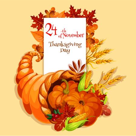Thanksgiving wenskaart. Cornucopia oogst embleem. Vector element van overvloed voedsel hoorn op oranje achtergrond voor de traditionele Thanksgiving viering groet en uitnodiging kaart, banner, poster