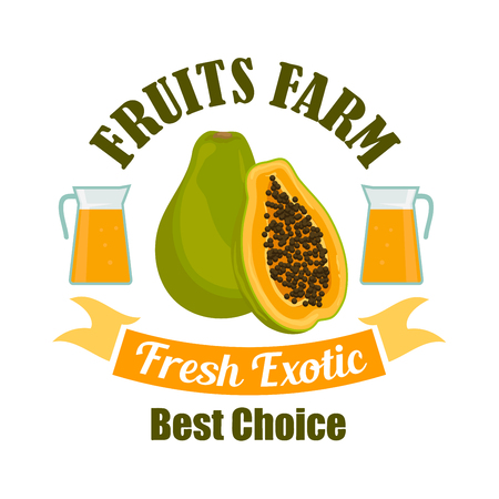 pitcher's: Ripe papaya fruit sign of sweet tropical pawpaw with juice pitchers, framed by ribbon banner with text Fresh Exotic. Food and drink packaging design