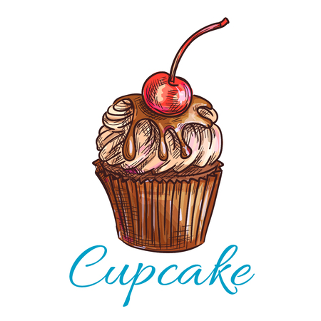 topped: Chocolate cake with cream sketch. Cupcake dessert isolated icon, topped with caramel cream and cherry fruit. Pastry and sweet shop menu, food theme design Illustration