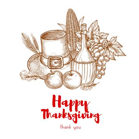 pilgrim hat: Happy Thanksgiving Holiday greeting card. Seasonal autumn crop, pilgrim hat, grape vine bunch, fresh wine jar. Vector sketch symbols for traditional american thanksgiving day celebration design