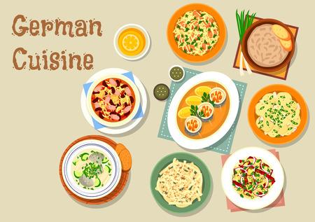 frankfurter: German cuisine bavarian dishes icon of pork and sauerkraut salad, vegetable sausage salad, fish soup, potato salad, herring roll, sauerkraut bean stew with frankfurter, cheese fruit salad