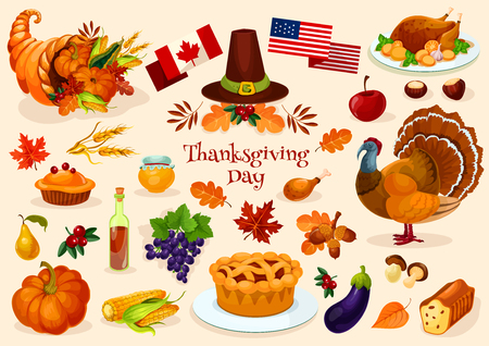 horn of plenty: Thanksgiving day. Vector elements of thanksgiving celebration harvest and icons. Traditional turkey, cornucopia horn, pilgrim hat, pumpkin, fruit pie, vegetables harvest, plenty of food products