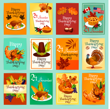 Thanksgiving holiday greeting cards tags posters banners set thanksgiving holiday greeting cards tags posters banners set with traditional thanksgiving day vector m4hsunfo