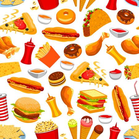 La comida rápida patrón transparente. Ilustración de vector