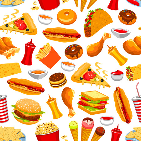 Fast food seamless pattern.