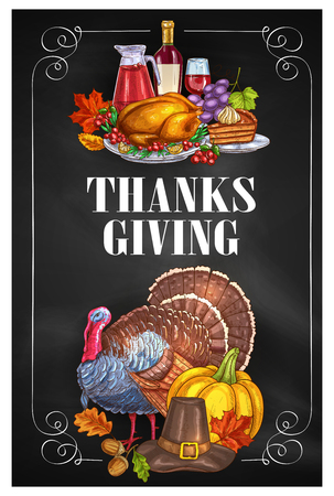 holiday food: Thanksgiving Day greeting holiday banners and posters with copyspace. Traditional design of food abundance. Thanksgiving color sketch turkey and family celebration dinner meal with autumn harvest, sweets, vine