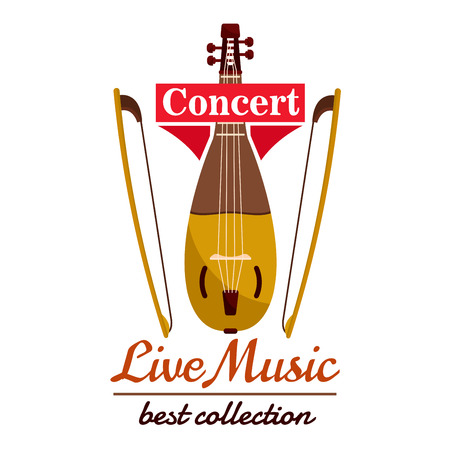 Violin with bows. Concert live music emblem with vector icon of string musical instrument viol gadulka