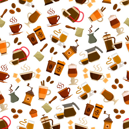 coffee mill: Coffee seamless pattern. Vector patterns of coffee cup, coffee maker, vintage coffee mill, retro coffee grinder, coffee beans, pitcher, sugar, chocolate, muffin, cezve. Cafeteria and cafe decoration background