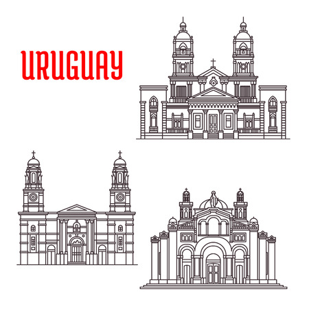 old postcards: Famous buildings of Uruguay. National Shrine of the Sacred Heart of Jesus, Church of Our Lady of the Mount Carmel, Cathedral of Mercedes. Vector thin line icons of architecture landmarks for souvenirs, travel guide elements Illustration