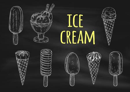 slushy: Ice cream chalk sketch icons on blackboard. Vector elements of dessert ice cream scoop in waffle cone, eskimo pie, slushy, frozen ice, sorbet, gelato, sundae for cafe or restaurant menu, decoration design