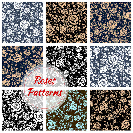 tendrils: Roses floral seamless patterns. Vector pattern of rose buds, curly stems and tendrils. Luxurious flowery rose ornamental decoration background