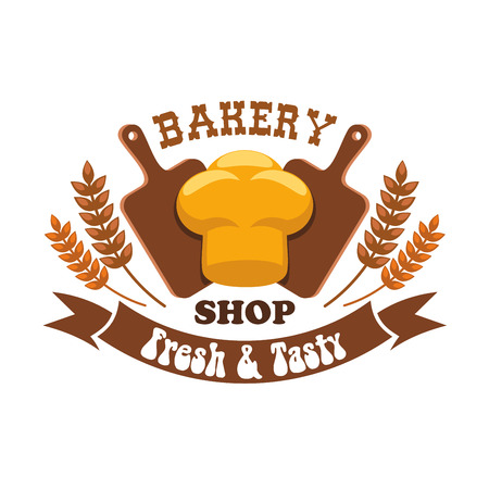 cutting board: Bakery shop emblem. Fresh and tasty bread loaf with cutting board and wheat ears design elements