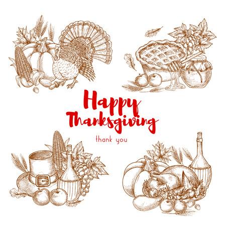 holiday food: Thanksgiving holiday vector sketch symbols set. Traditional decoration elements of thanksgiving celebration. Turkey, cherry pie, harvest vegetables, pilgrim hat, vine and plenty of food meal for thanksgiving banner, poster, placard, sticker design
