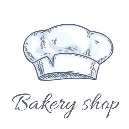 kitchener: Baker hat icons for bakery shop emblem. Chef toque, kitchen cooking hat for restaurant design element, bakery signboard. Vector doodle sketch