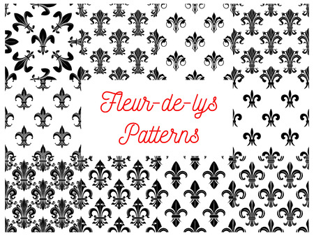vectro: Heraldic seamless patterns of fleur-de-lys. Vectro pattern of black silhouette and outline royal french lily fleur-de-lis symbols on white background