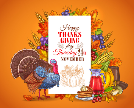 Happy Thanksgiving Day greeting card, banner. Traditional november holiday celebration design with thanksgiving turkey bird, seasonal harvest vegetables, sweet pie. Thanksgiving invitation placard Illustration