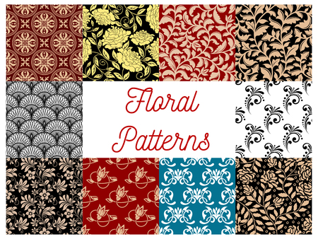 tapestry: Floral seamless decor patterns. Vector flourish ornamental tile tapestry backgrounds with stylized flowers, leaves and tendrils Illustration