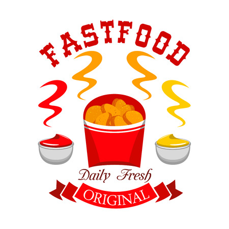 Fast food chicken nuggets emblem. Vector icon of daily fresh hot snack with ketchup and mustard in paper box with red ribbon and text Illustration