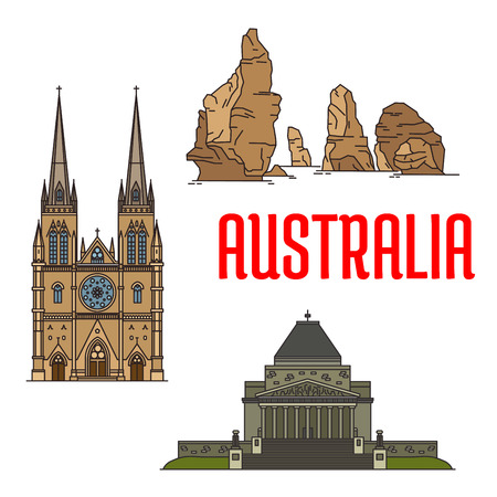 tour guide: Australian buildings and landmarks icons. Vector St Mary Cathedral, Twelve Apostles rocks, Shrine of Remembrance. Detailed icons of sightseeings of Australia for souvenirs, travel guide design elements
