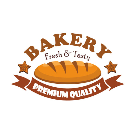 bagel: Fresh and tasty bread bagel. Bakery emblem with ribbon and text Premium Quality