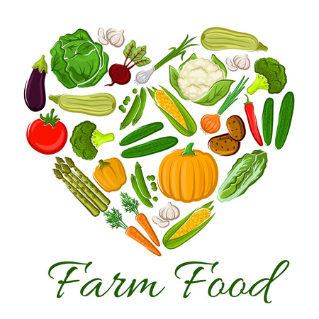 pumpkin tomato: Farm Food vegetables icons in heart shape. Vegetarian products cauliflower, tomato and onion, potato and asparagus, leek and radish, potato and pumpkin, zucchini, pepper elements for grocery store Illustration