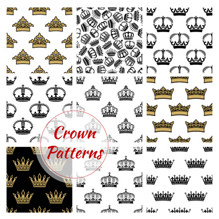 regal: Vector pattern of royal crowns. Seamless background with golden, royal and heraldic, imperial, vintage, retro, monarch, regal crown icons Illustration