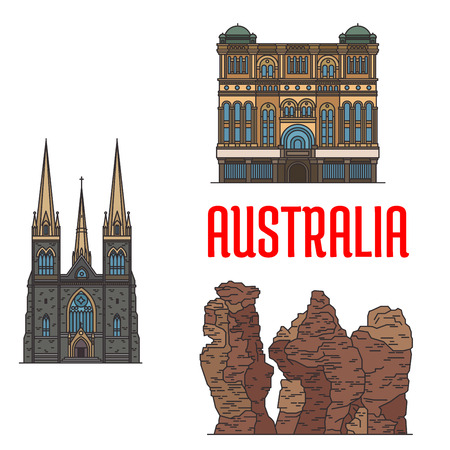 historic building: Queen Victoria Building, St Patrick Cathedral, Three Sisters Rock. Detailed icons of historic architecture and sightseeings of Australia for souvenirs, travel guide design elements