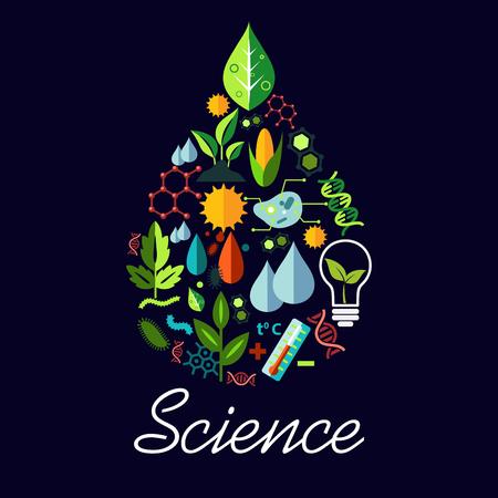 emblème de la science en forme de goutte.