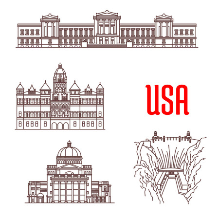 American landmarks and sightseeing icons.