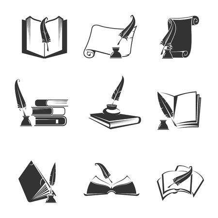 pens: Vector icons of science, study, education, knowledge. Isolated silhouette outline symbols of book, manuscript, writing feather pen Illustration